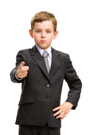Half-length portrait of little businessman pointing finger gesturing, isolated on white. Concept of leadership and success photo