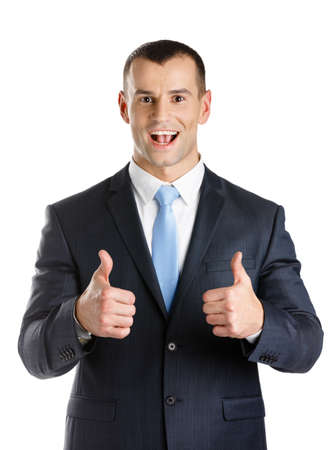 Businessman thumbs up, isolated on white. Concept of problems solution photo