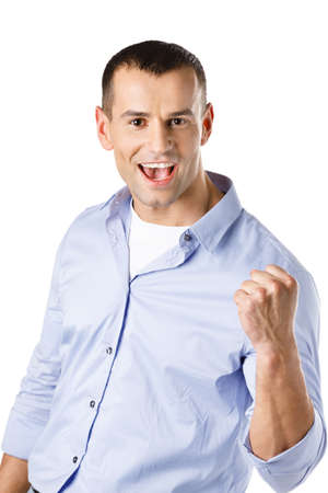 Happy man with fist up, isolated on white