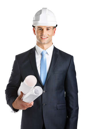architecting: Engineer in hard hat hands blueprints, isolated on white. Concept of successful construction