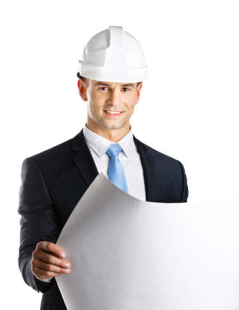 architecting: Engineer in hard hat hands layout, isolated on white. Concept of successful construction