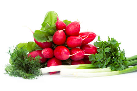 Close up of radish, onions, parsley, dill, isolated. Concept of healthy lifestyle and dieting photo
