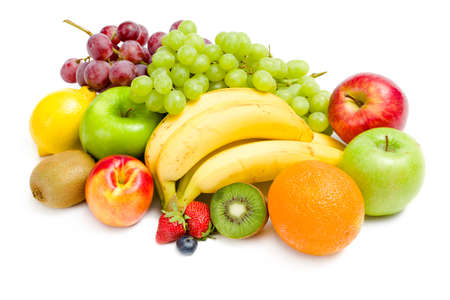 Close up of heap of fruit, isolated. Concept of healthy eating and dieting lifestyle photo