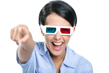 Pointing with forefinger girl in 3D glasses watches the movie, isolated on white photo