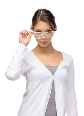 Half-length portrait of business woman wearing white frame glasses, isolated on white Stock Photo