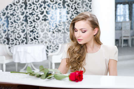 Portrait of woman with red rose playing piano. Concept of music and art Stock Photo - 24480358