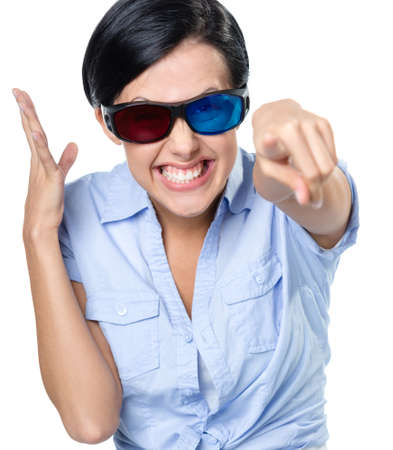 Girl in 3D glasses touching the imaginary screen, isolated on white
