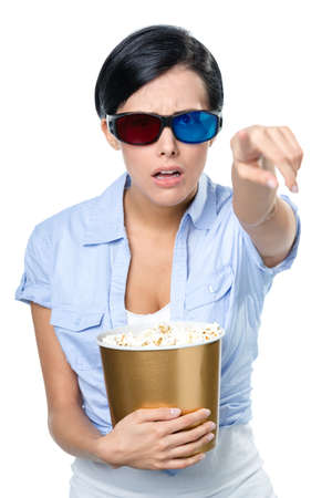 bowl of popcorn: Girl in 3D spectacles watching cinema with the bowl full of popcorn, isolated on white