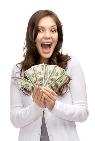 Half-length portrait of happy woman holding cash, isolated on white. Concept of wealth and income photo