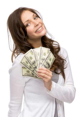 Brustbild der glücklichen Frau Gabe Bargeld, isoliert auf weiß. Konzept von Reichtum und Einkommen