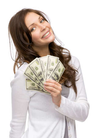 advancing: Half-length portrait of happy woman handing cash, isolated on white. Concept of wealth and income