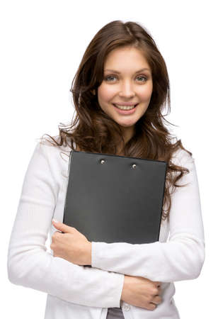 Half-length portrait of woman keeping folder, isolated on white photo