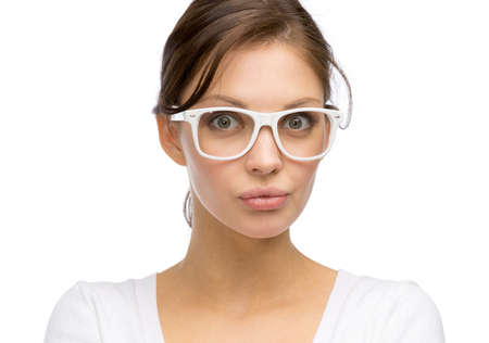 portrait of business woman wearing white frame glasses isolated on white photo - White Frame Glasses