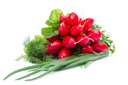 Close up of radish, onions, parsley, dill, isolated on white. Concept of healthy lifestyle and dieting photo
