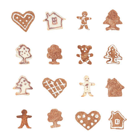 Close up of cookie in the form of house, isolated on white. Traditional dessert for Christmas photo