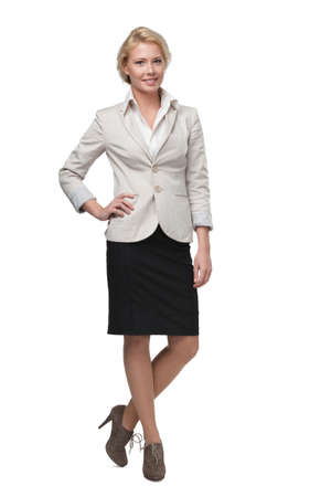 Full length portrait of pretty business woman, isolated on white photo