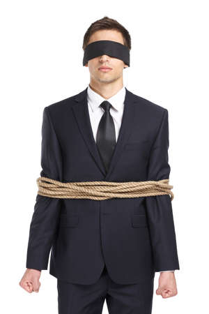 hair tied: Portrait of  blind-folded businessman tied with the line, isolated on white. Concept of slavery and violence Stock Photo