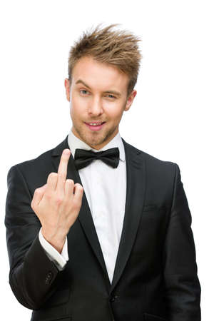 vulgar: Half-length portrait of manager showing vulgar gesture, isolated on white. Concept of stress and aggression