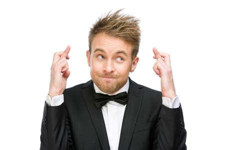 Half-length portret van zaken man met vingers gekruist, geïsoleerd op wit