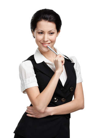 Portrait of young business woman in black vest, isolated on white photo
