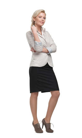 Full length portrait of pretty businesswoman, isolated on white photo