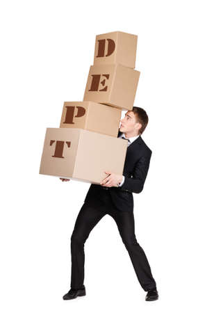 dept: Manager handing pile of cardboard boxes with dept inscription, isolated on white Stock Photo
