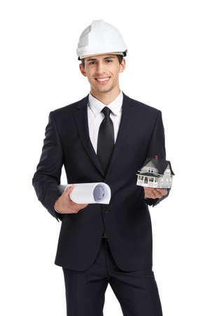 architecting: Businessman in white helmet hands model house and blueprint, isolated on white. Concept of real estate and engineering