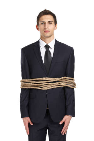 hair tied: Portrait of businessman tied with the line, isolated on white. Concept of slavery and violence