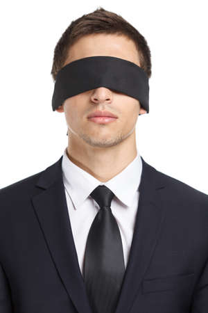servitude: Portrait of blind-folded businessman, isolated on white. Concept of slavery and violence