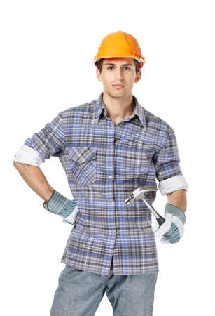 Half-length portrait of foreman in range headpiece handing hammer, isolated on white. Concept of restoration and engineering photo