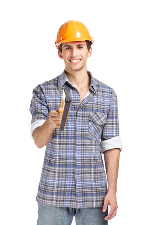 hard stuff: Half-length portrait of foreman in range hard hat handing elevation meter, isolated on white. Concept of restoration and engineering Stock Photo
