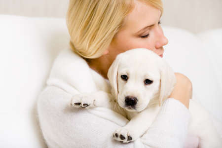 Woman in white sweater embraces Labrador puppy Stock Photo - 26692565