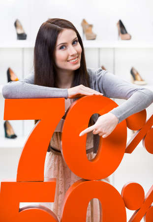 show case: Woman showing the percentage of sales on heeled shoes in the shopping center against the window case with pumps Stock Photo