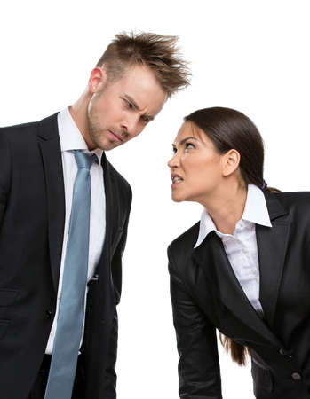 competing: Two aggressive businesspeople debate and fight, isolated on white. Concept of competition and job competitive promotion