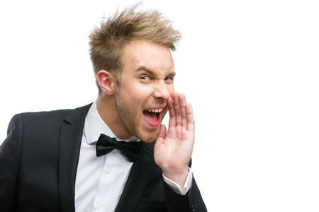 hysterics: Portrait of shouting businessman, isolated on white. Concept of stress and aggression Stock Photo