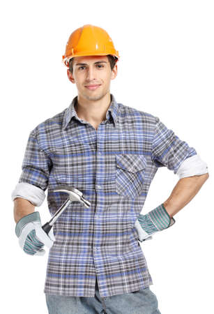 'young things': Half-length portrait of foreman in range helmet handing hammer, isolated on white. Concept of restoration and engineering