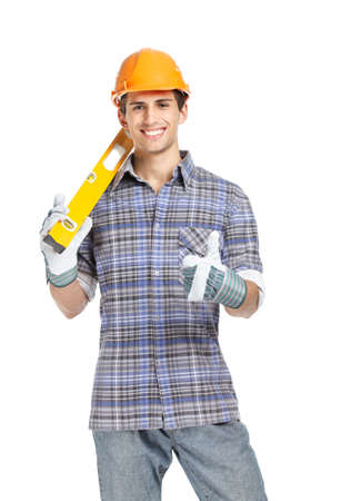 elevation meter: Half-length portrait of foreman in range hard hat handing engineers level, isolated on white. Concept of restoration and engineering Stock Photo
