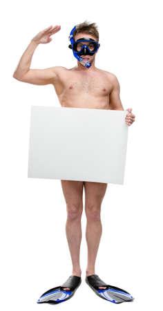 naked man: Retrato de cuerpo entero de buceador desnudo con copyspace vestido sólo con snorkel, gafas y aletas, aislados en blanco Foto de archivo