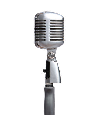 Close up of silver microphone, isolated on white. Concept of music and arts photo