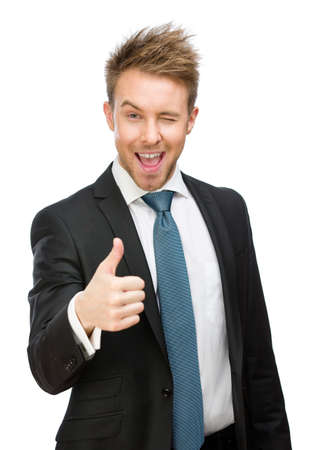 Half-length portrait of white collar who thumbs up, isolated on white. Concept of leadership and success photo