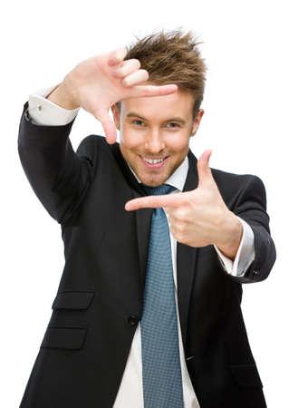 Portrait du cadre de gestion des gestes, isolé sur blanc. Concept de processus de prise de vue et des coups réussis Banque d'images