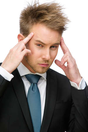 achy: Portrait of businessman putting hands on head, isolated on white. Concept of headache and high temperature