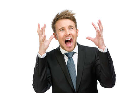 hysterics: Half-length portrait of scared and screaming executive with hands up, isolated on white