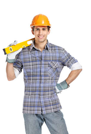 hard stuff: Half-length portrait of foreman in range helmet handing leveling instrument, isolated on white. Concept of restoration and engineering Stock Photo