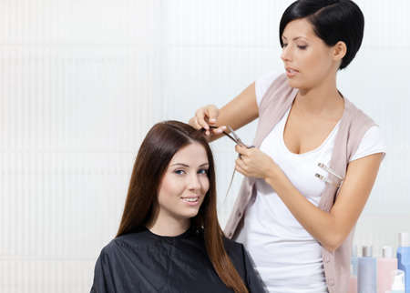 trims: Hairdresser cuts hair of woman in hairdressers. Concept of fashion and beauty Stock Photo