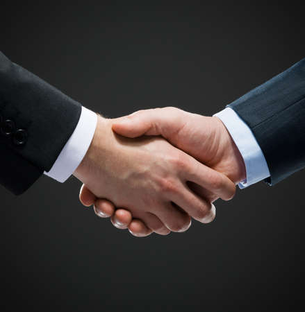 Close up shot of hand shake of business people. Concept of trustworthy relations and business cooperation photo
