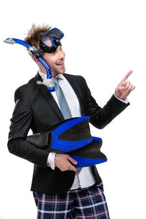flippers: El hombre de negocios vistiendo traje y gafas con aletas de snorkel manos, aislado en blanco Foto de archivo