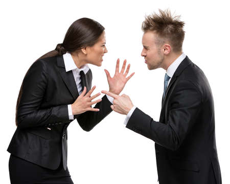 debates: Two business people debate, isolated on white. Concept of competition and job competitive promotion