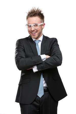 Half-length portrait of charismatic businessman in glasses with arms crossed, isolated on white