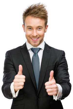 Half-length portrait of business man who thumbs up, isolated on white. Concept of leadership and success photo